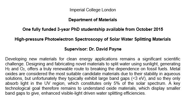 Payne Studentships Ad 2015