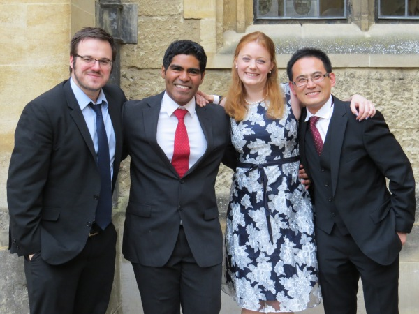Russ' last DPhil students: David Payne, Freddy Oropeza, Anna Regoutz, Kelvin Hongliang Zhang (from left to right).